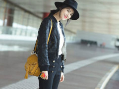 高圆圆机场街拍最新图片 女神简单穿搭都美美哒